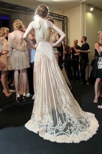 so absolutely beautiful - antique lace w/ low back & overlay train.