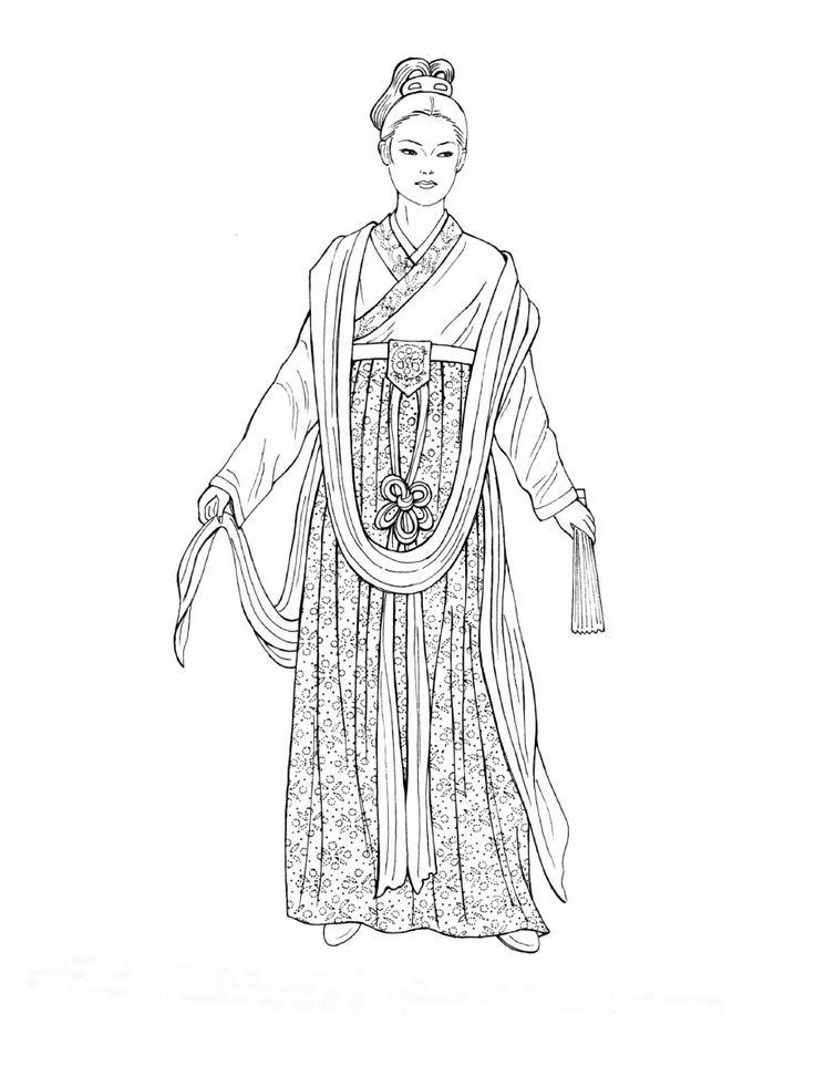 Song Dynasty. This woman's wrap top has a neckband embroidered with a floral design. The pocket at the skirt's high waist is also embroidered with colorful silk thread. The knotted ornamental sash flows downward to flutter with her every movement. She holds a pleated fan. [Chinese Fashions (Dover Fashion Coloring Book)  by  Ming-Ju Sun.]
