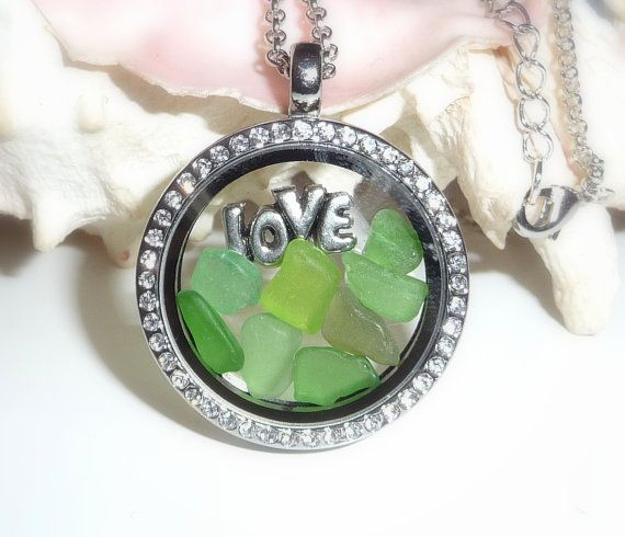 85 best memory floating locket necklace images on pinterest locket 30 mm nautical love beach glass shades of green floating memory locket necklace 24 aloadofball Choice Image