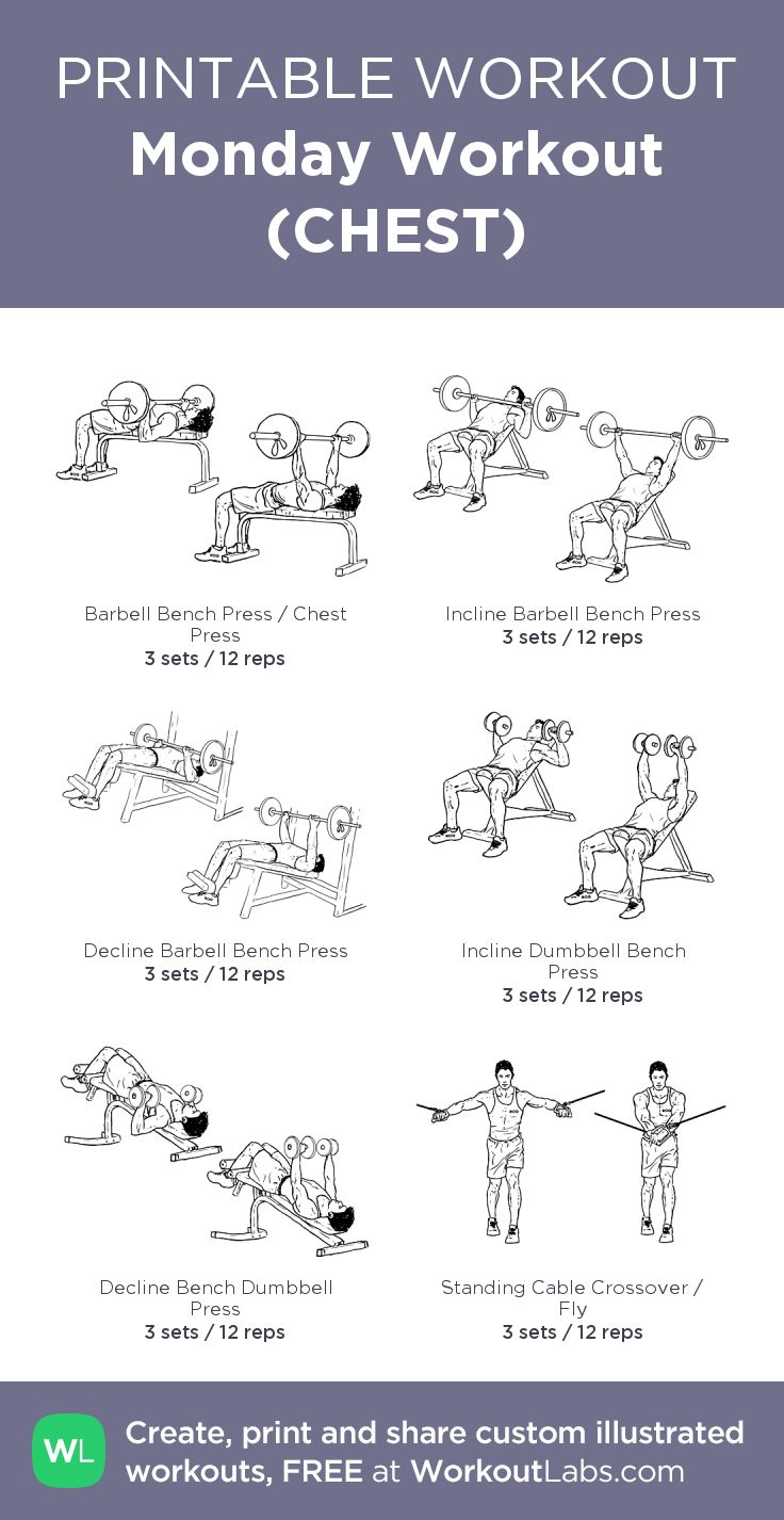 Monday Workout (CHEST): my visual workout created at WorkoutLabs.com • Click through to customize and download as a FREE PDF! #customworkout