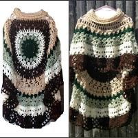 Crochet Long Poncho Circular Shawl Pattern $5.00
