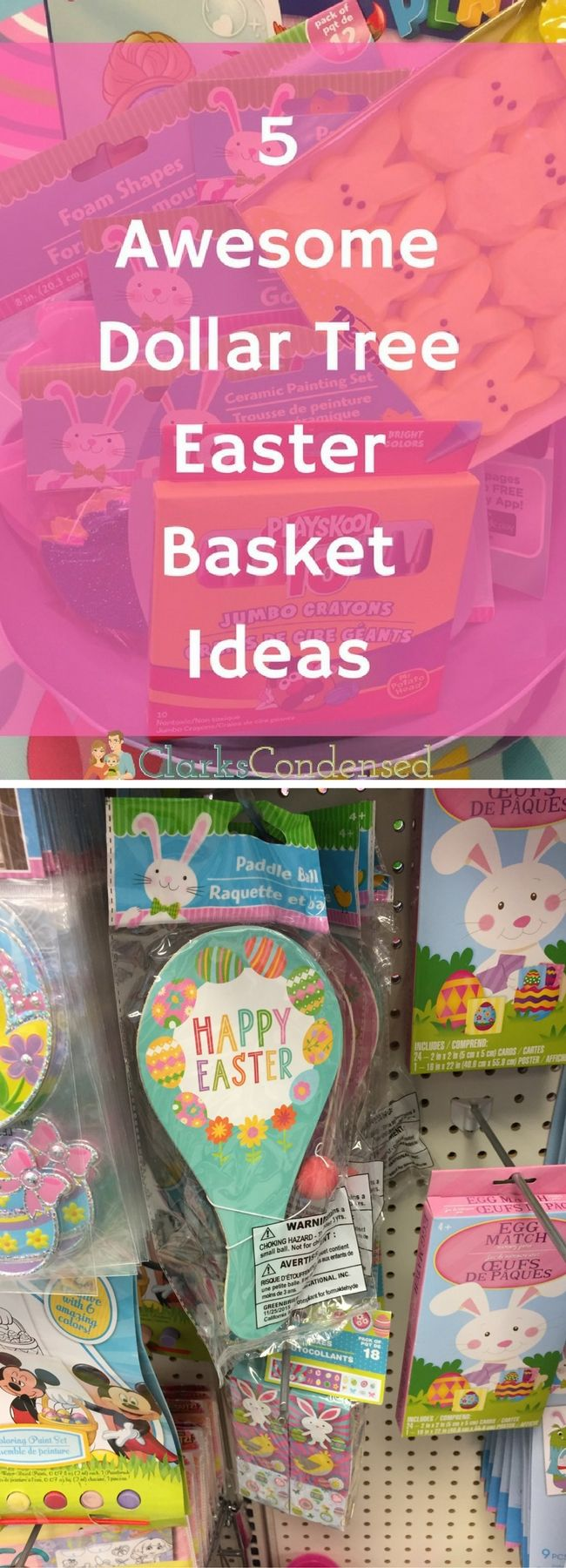 Get some easy and inexpensive Easter basket ideas from The Dollar Tree!