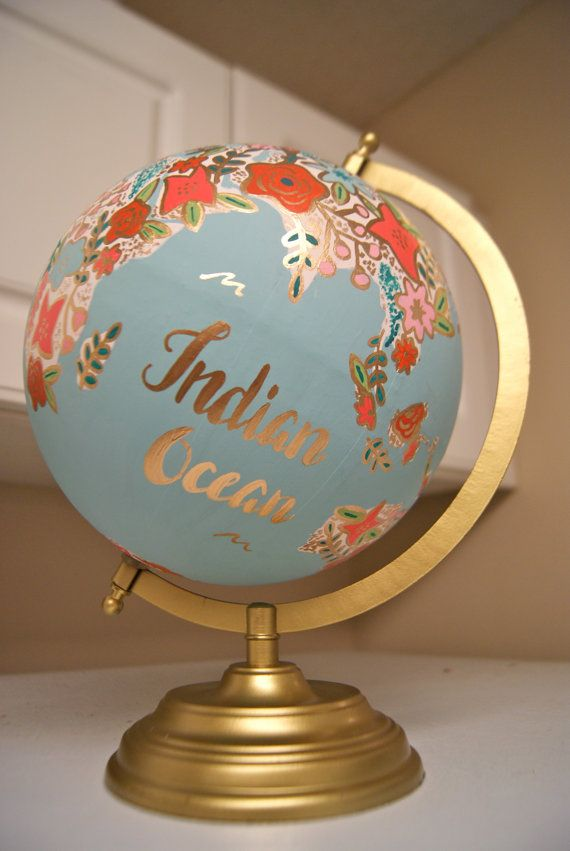 Custom 12 World Globe Hand Painted Flowers by PrettyLittleDoodads