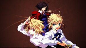 Wallpaper fate stay night, shingetsutan tsukihime, kara no kyoukai, arcueid brunestud, ryougi shiki, girls, guns, background