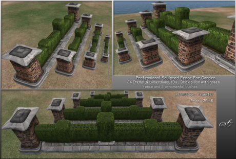 Second Life Marketplace - S7 Professional Fence with Brick Pillar, Style 3 ,Full pack