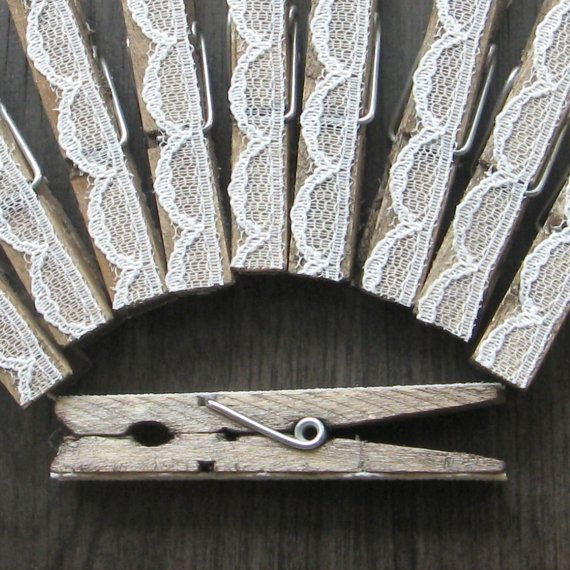 10 Lace covered clothespins - cottage chic wedding - shabby chic bridal shower - escort card holders