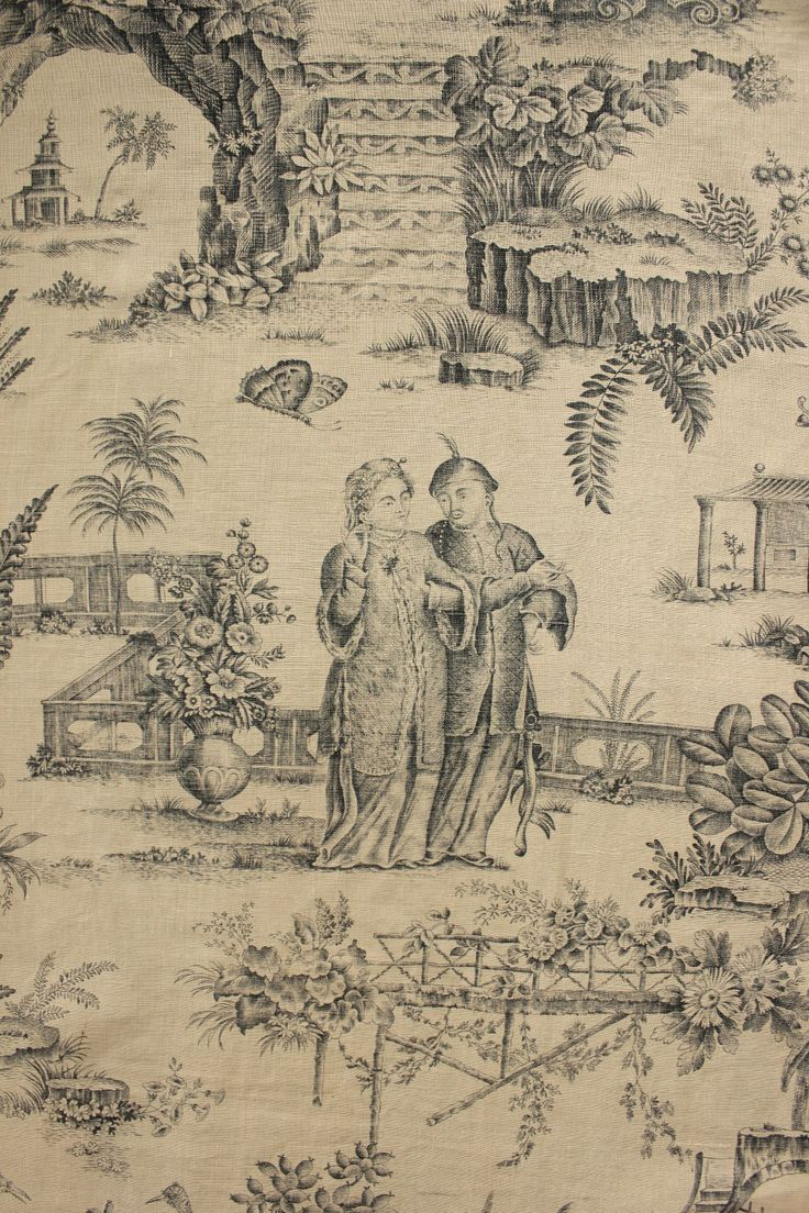 Vintage French Chinoiserie Toile De Jouy Printed LINEN Curtain Trim Blue Dining Room