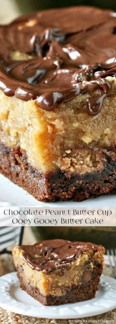 4 Egg. 1 cup Peanut butter. 8 Peanut butter cups - large one, large. 1/2 cup Chocolate chips. 1 Chocolate topping. 4 cups Confectionery sugar. 1 German chocolate cake mix. 1 tsp Vanilla. 1 tbsp Vegetable or canola oil. 1 Cake. 1 cup Butter. 1 (8-ounce package Cream cheese. 1 Cream cheese layer. 3 Butterfinger candy bars, small. 2 Nd layer.