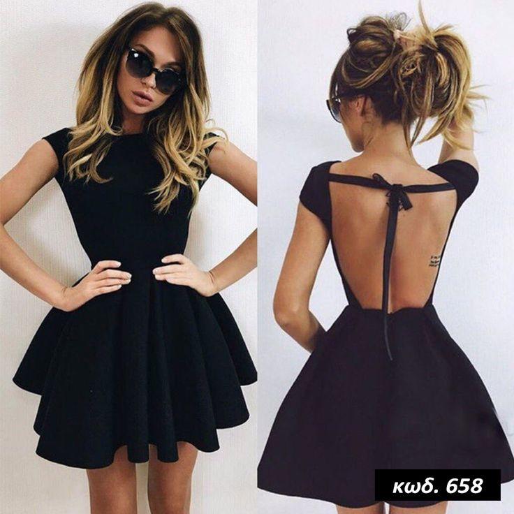 Κωδικός AD658, Υλικό Neoprene, Χρώμα Μαύρο, Black Color, O Neck, Ελαστικό, Mini, Κοντομάνικο, Pleated Dress, Eξώπλατο, Backless,  Pin Up, Romantic, Cute, One Size