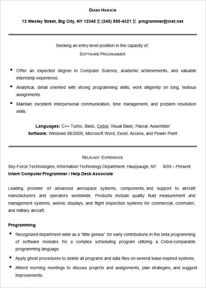 Sample Software Programmer Resume Template Mac Resume