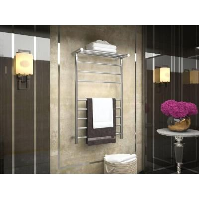 ANZZI Eve 8-Bar Stainless Steel Wall Mounted Electric Towel Warmer Rack in…