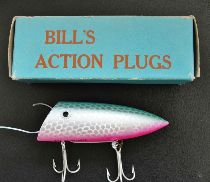 1960s Bill's Action Plug salmon lure in the box.