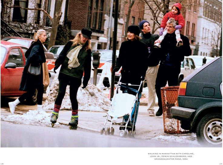 Walking in Manhattan with Caroline, John Jr., Edwin Schlossberg, and granddaughter Rose.