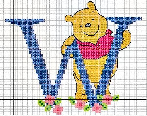 #Monograma Ursinho Pooh - letra W #bordado #CoatsCorrente