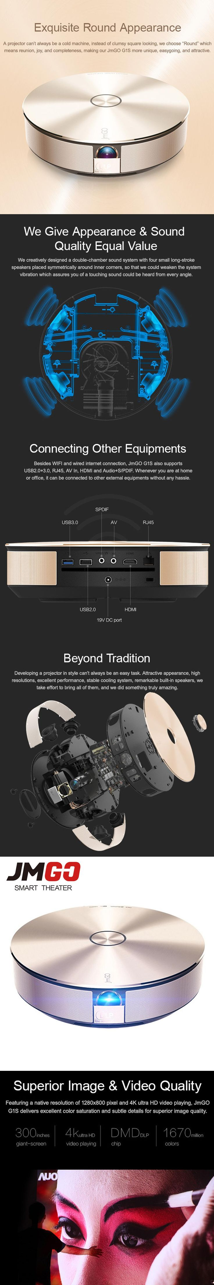 JMGO G1S LED Projector, 1280x800, Digital Zoom 1:2, High-End Android HD Projector, WIFI, Bluetooth Speaker Miracast Airplay