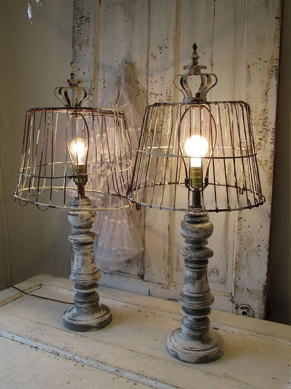 Superb Wooden Baluster Table Lamp Rustic Farmhouse Distressed Wood Base W/  Recycled Rusty Basket Lampshade Lighting Home Decor Anita Spero Design  Wooden Baluster ...
