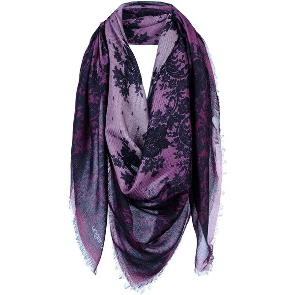 Ungaro Square Scarf ($148) ❤ liked on Polyvore featuring accessories, scarves, purple, floral print scarves, floral scarves, purple scarves, square scarves and floral shawl