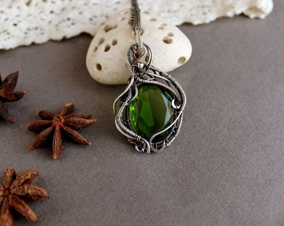Green quartz necklace Silver Gemstone  pendant by TiKorali on Etsy