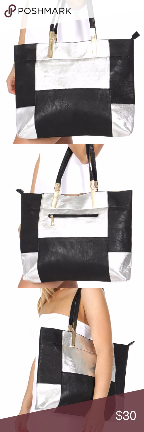 Black & Silver Tote Handbag Faux leather black and silver tote. Bags Totes