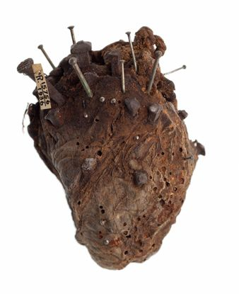 One crazy looking amulet; a sheep's heart, stuck with nails and pins. It was said to have been used to break a spell cast by a witch over a farmer's cattle.