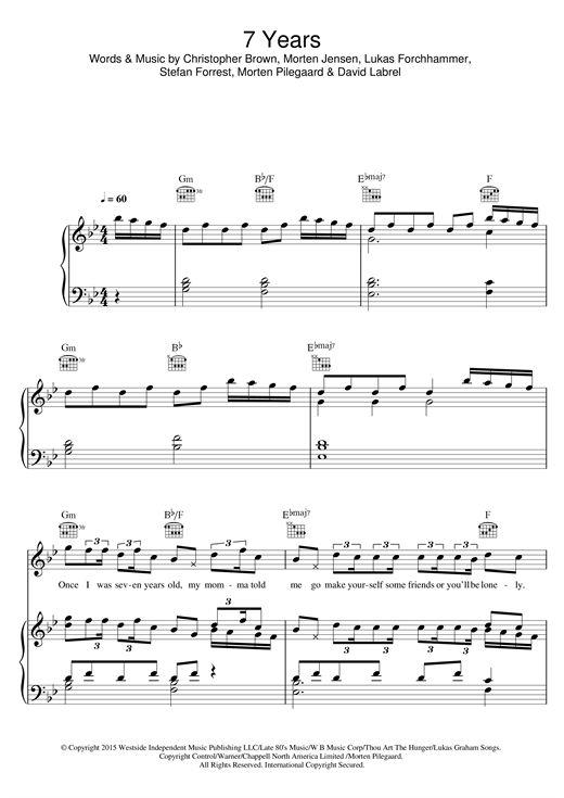 7 Years Sheet Music