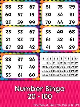 Number Bingo This Number Bingo game is a fun way for students to read and recognise numbers 20-100. The activity can be played in small groups or as a whole class. There are 20 student bingo boards, which have different number combinations on each. There are also 2 teacher pages to be printed to call the numbers.