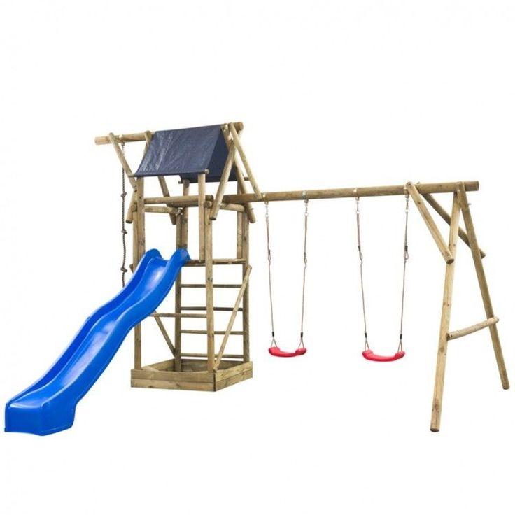 Kids Playhouse Set Ladder Slide Wooden Playground Children Red Swing Rope Tower #KidsPlayhouseSet