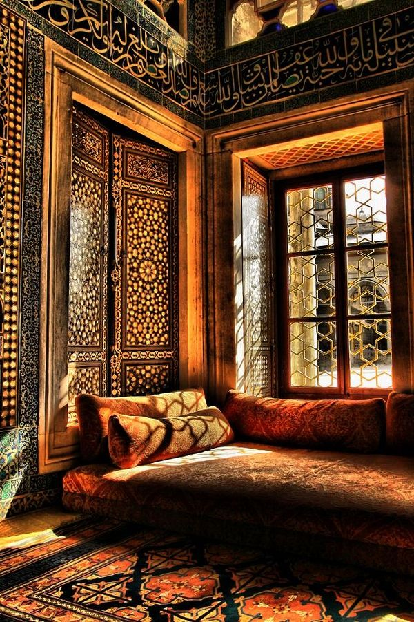 Her room. Moroccan patterns of gold and brown hues see also: http://www.brabbu.com/en/inspiration.php