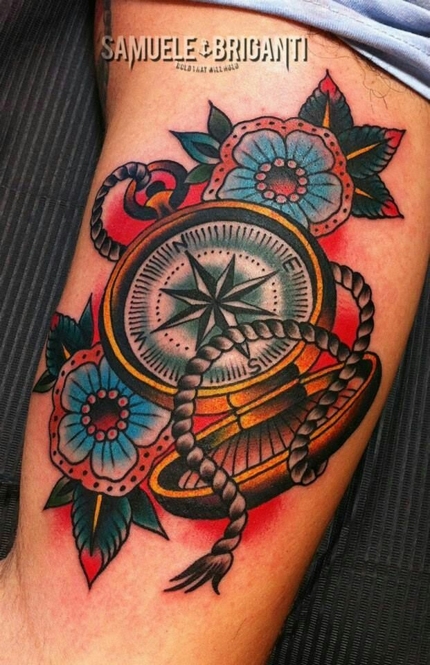 traditional tattoo - compass