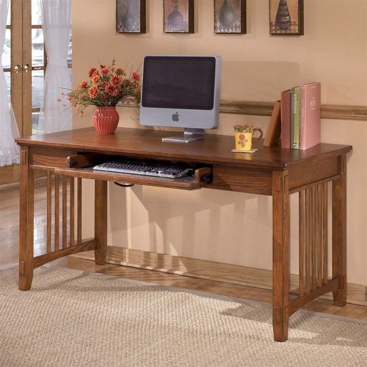 Lowest price online on all Signature Design by Ashley Furniture Cross Island Large Office Leg Desk in Medium Brown - H319-44