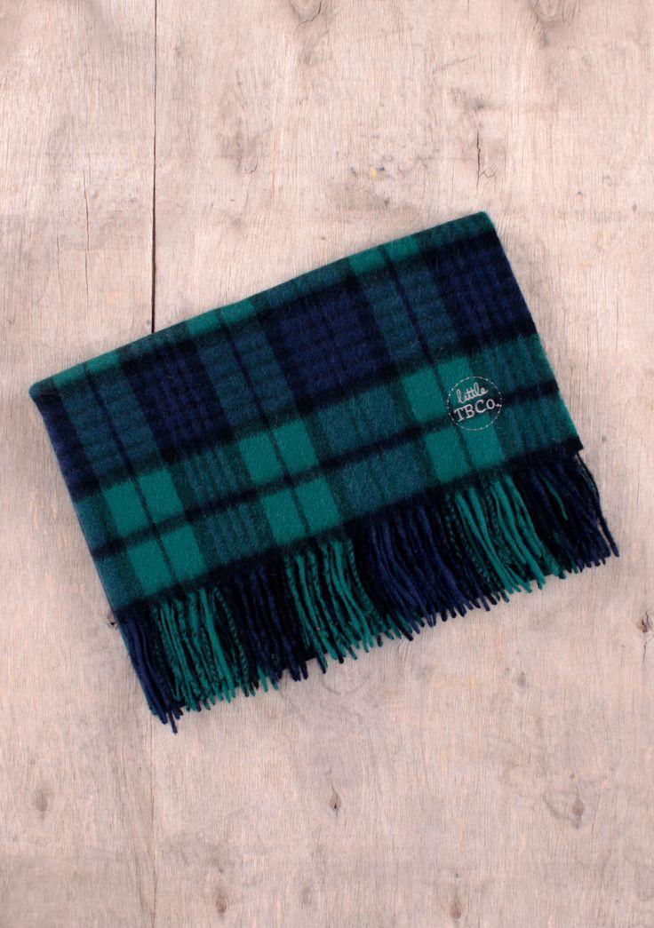 Cashmere Baby Blanket in Black Watch Tartan