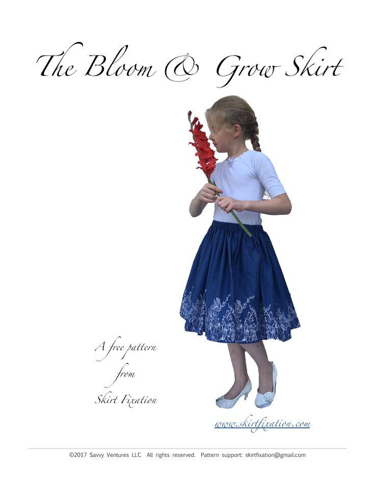 Free border print girl's skirt pattern from Skirt Fixation
