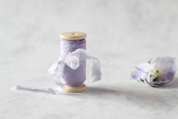 """Light lavender hand dyed ribbon on wooden spool, plant dyed, 1.5"""" wide, wedding decoration, bridal bouquet, photography props, silk ribbon"""