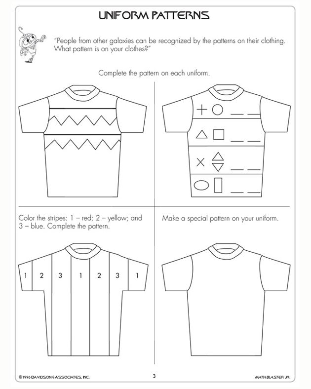 Free math worksheets for grade 1patterns