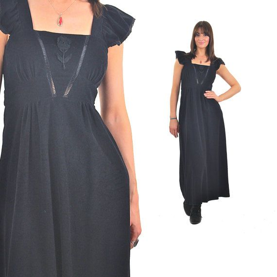 Hey, I found this really awesome Etsy listing at https://www.etsy.com/listing/236396649/vintage-70s-black-lace-boho-maxi-dress