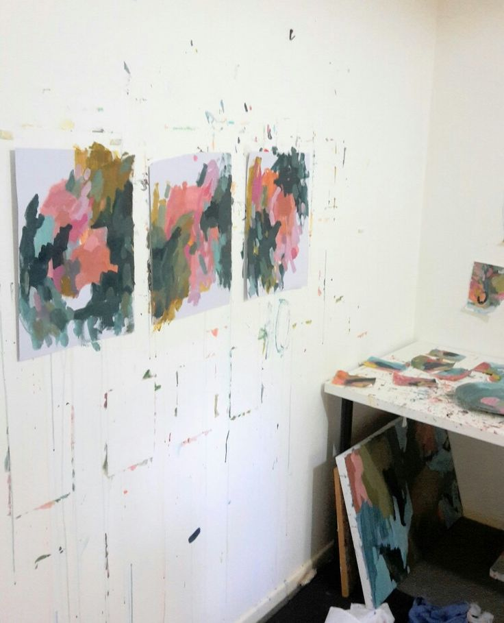 Colourful paintings on paper.Helen Dean #art #colorful #interior