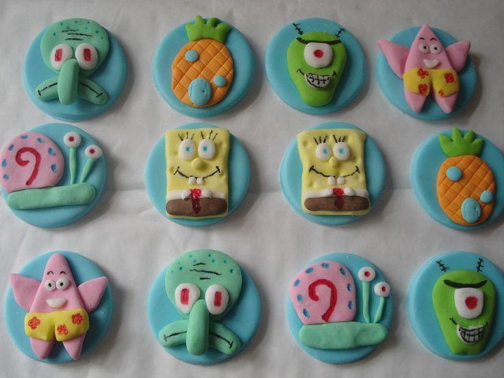 12 sponge bob cupcake toppers