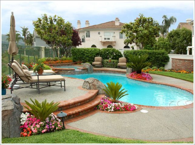 Plants around a pool area pool landscape ideas for Pool area designs