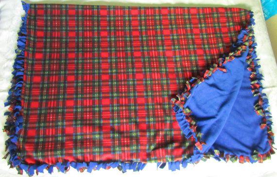 Large and cozy Royal Stewart tartan fleece tie by BriersBlankets