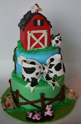 farm babies..i need to make a cake like this, since I have marzipan animal babies...but I need a lil kid to make it for