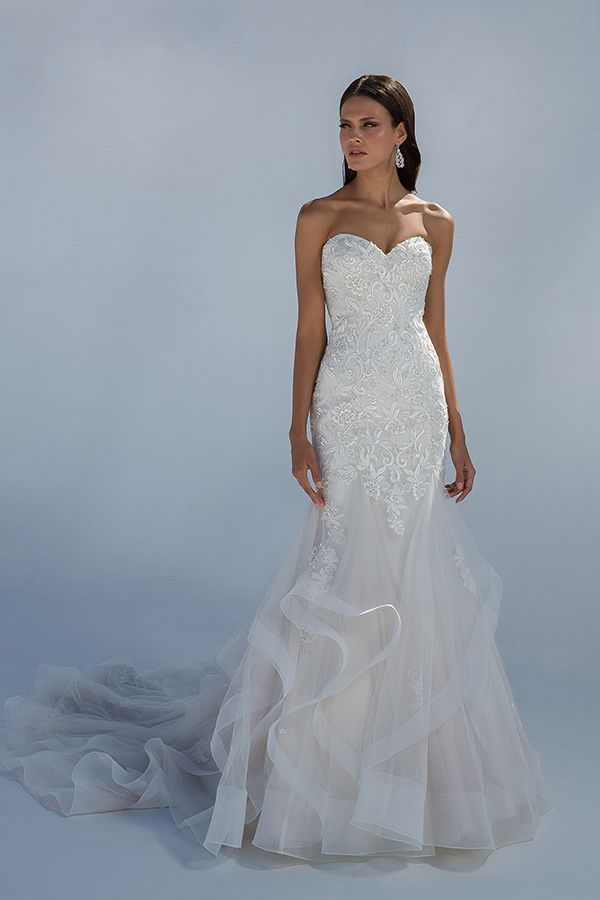 Justin Alexander Strapless Lace Wedding Dress