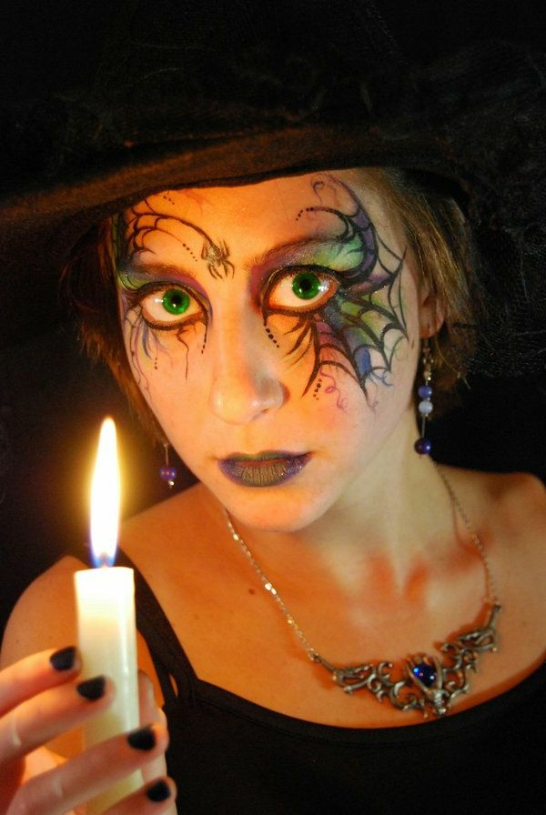 original-fille-maquillage de sorcière de Halloween