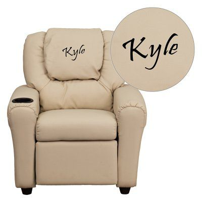 Flash Furniture Personalized Vinyl Kids Recliner with Cup Holder and Headrest - Beige - DG-ULT-KID-BGE-EMB-GG, Durable