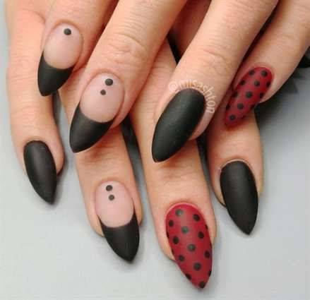 33 ideas for nails acrylic matte polka dots  black nail