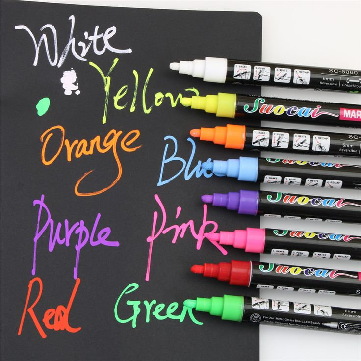 8 Colors Liquid Chalk Marker Pens Erasable Multi Colored Big Highlighters For Led Writing Board Glass Window Art