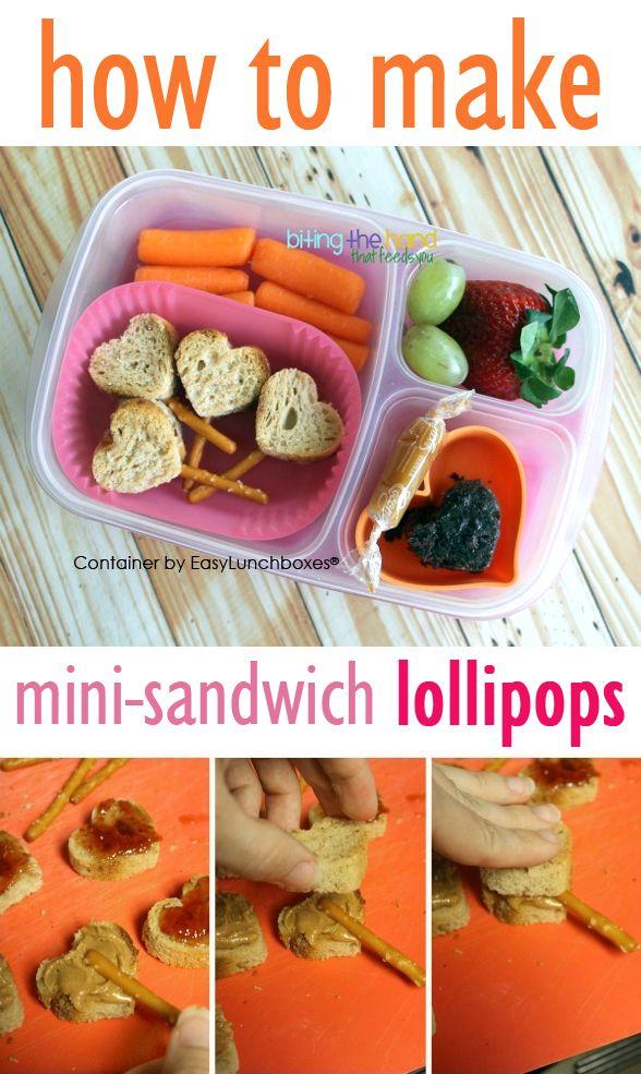 Mini-Sandwich Lollipops (tutorial). Packed for lunch in