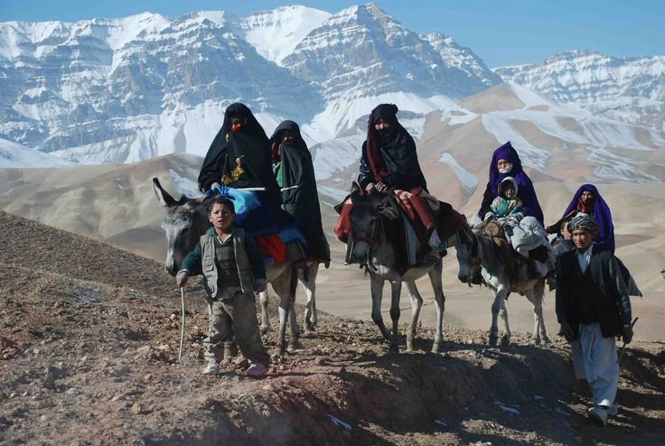 Family with valley view, donkeys