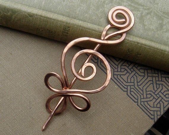 Celtic Budding Spiral Copper Shawl Pin / by nicholasandfelice, $ 18.00