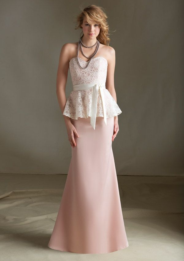 Fabulous Mori Lee Bridesmaid Dress Mori Lee Bridesmaid Dress Style Lace and Satin with Matching Tie Sash Zipper back Available in Selected Color