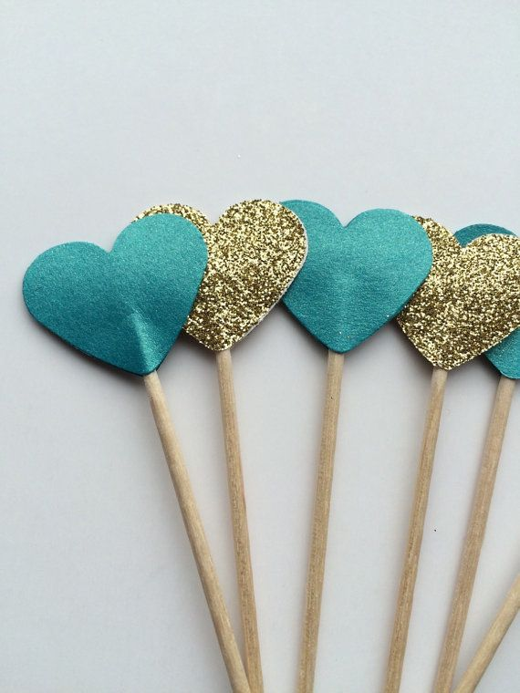 Teal and gold cupcake toppers perfect for by EclecticNessy on Etsy